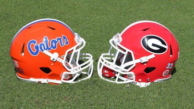 Florida Gators and Georgia Bulldogs helmets